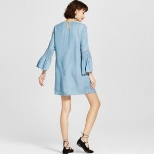NWT Chambray Ruched Bell Sleeve Dress